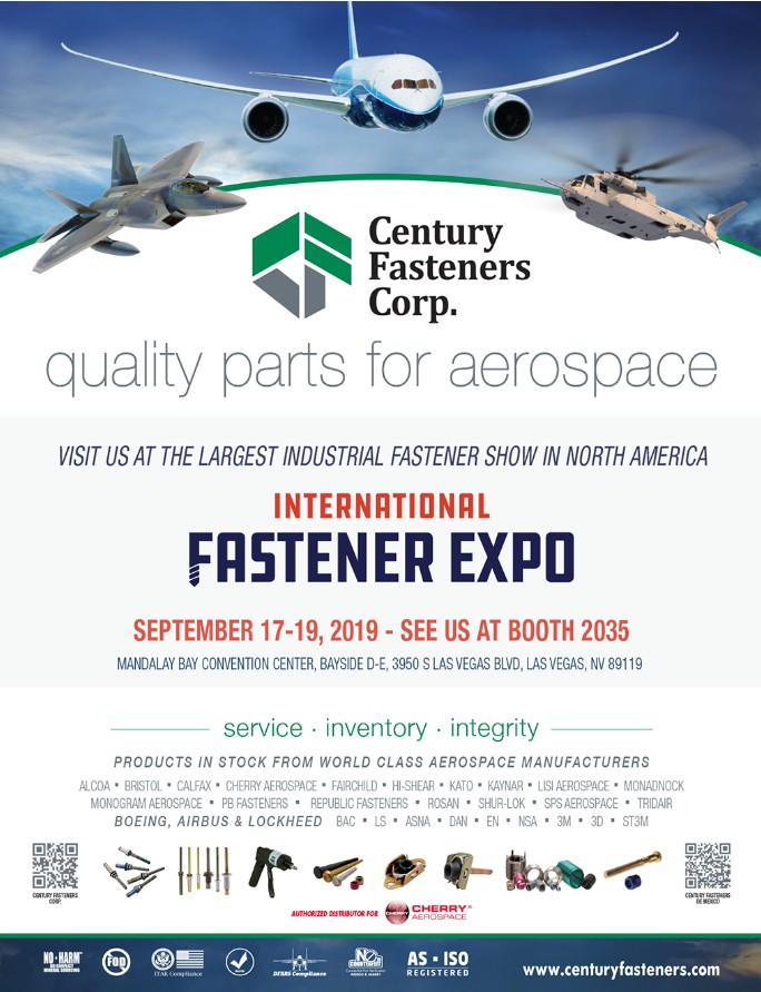 Century Fasteners Corp. and Cherry Aerospace at 2019 International Fastener Expo