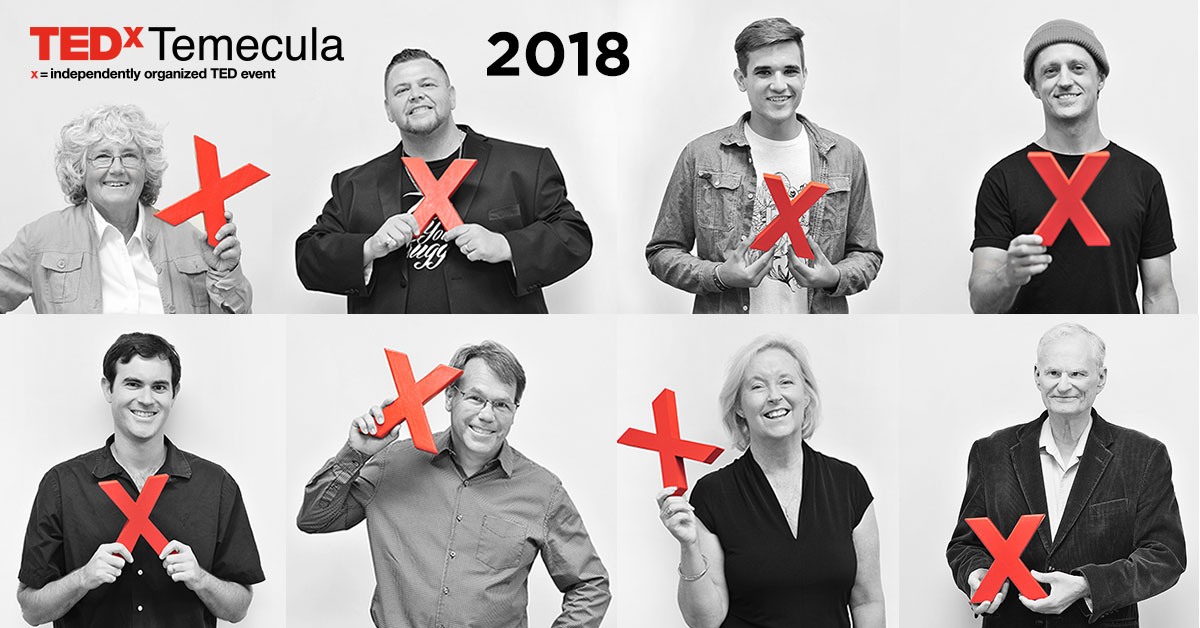 Eight visionaries take the TEDxTemecula stage September 29, 2018.