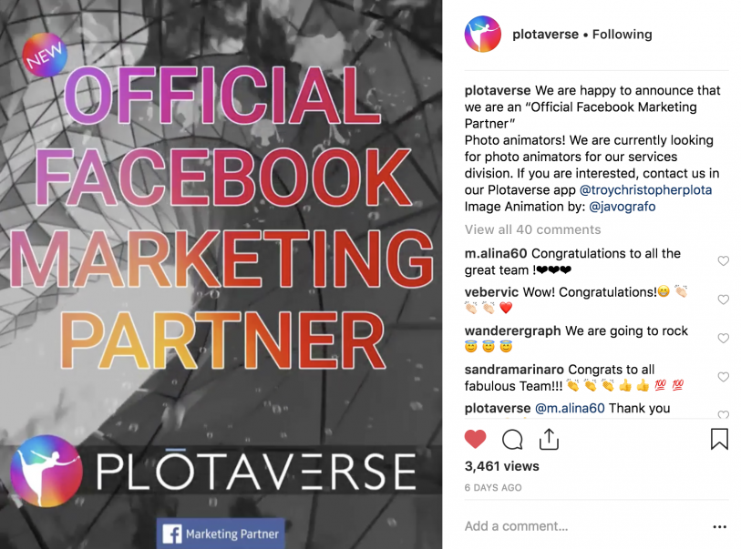 Plotaverse, Badged Facebook Marketing Partner