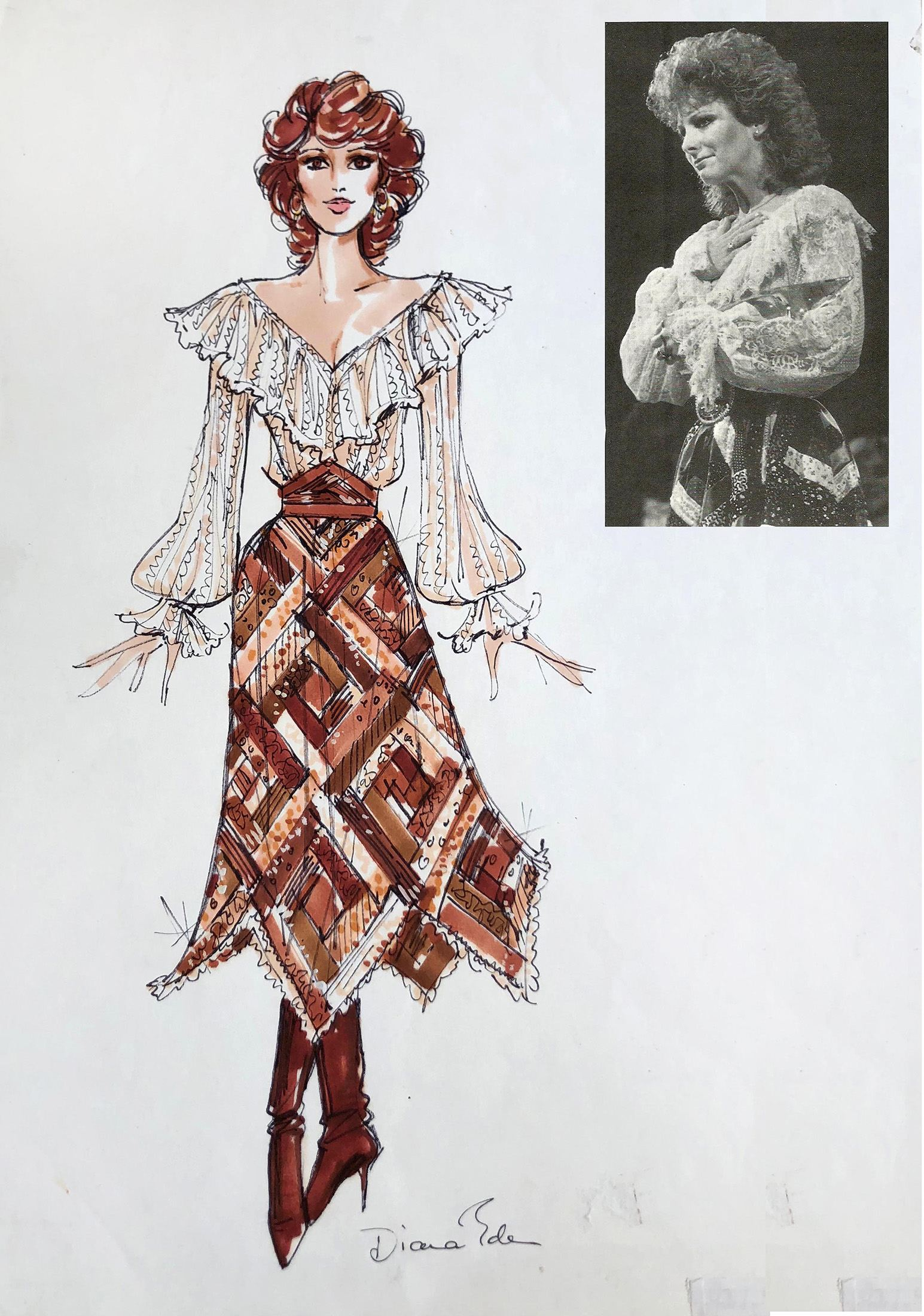 Reba McEntire Sketch and Photo