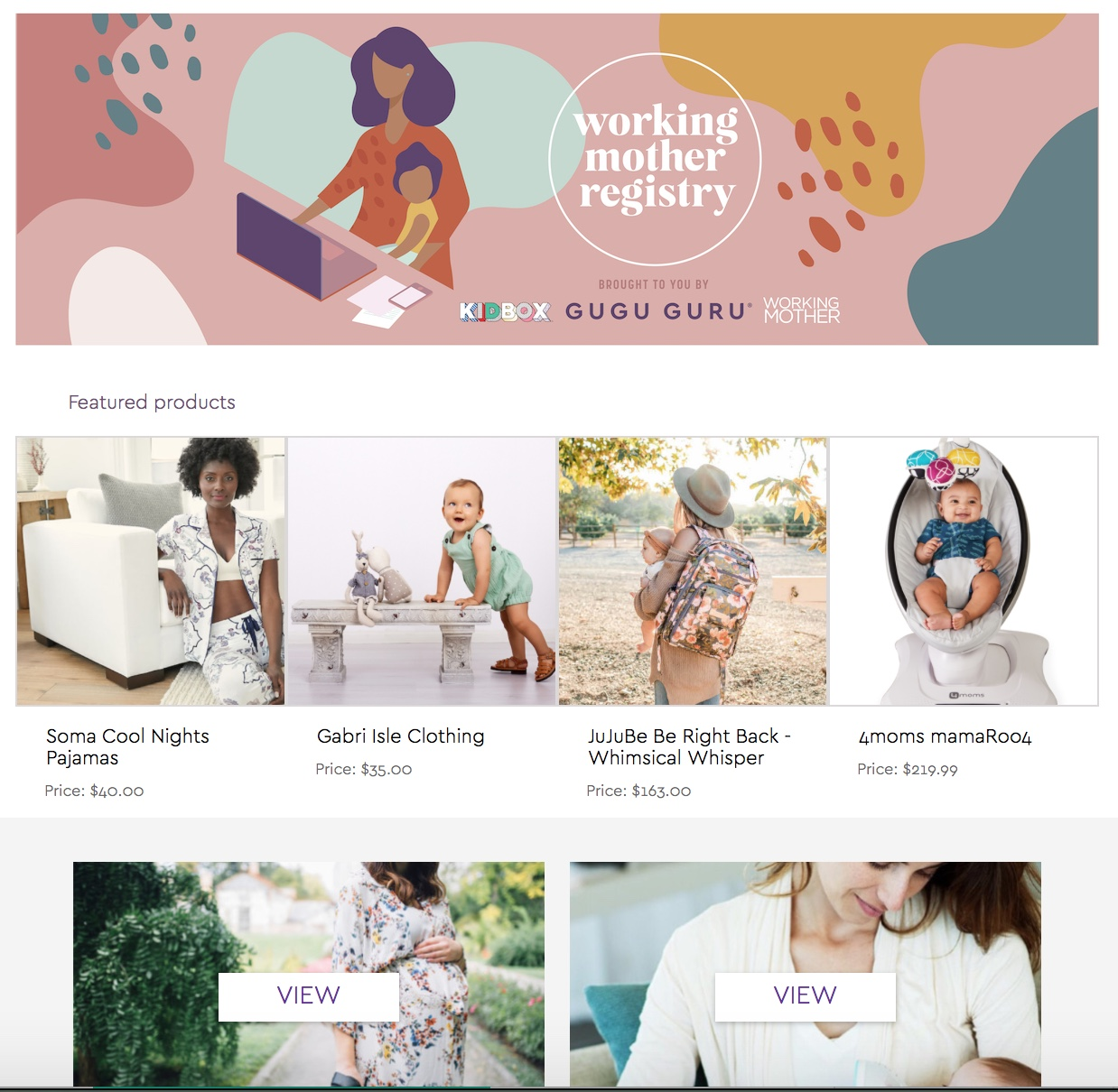 Working Mother Baby Registry