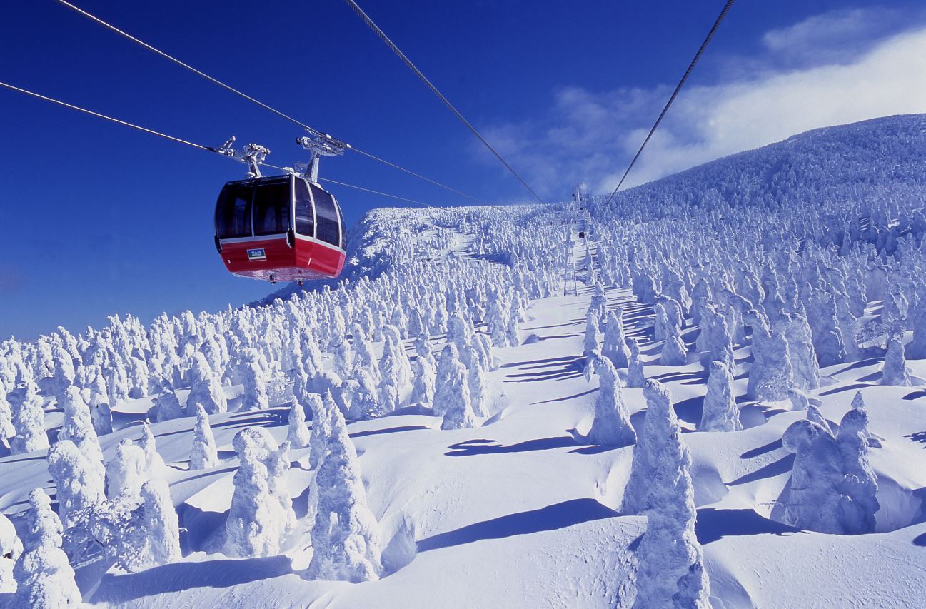 Zao Onsen Ropeway Soaring Above Juhyo Snow Monsters