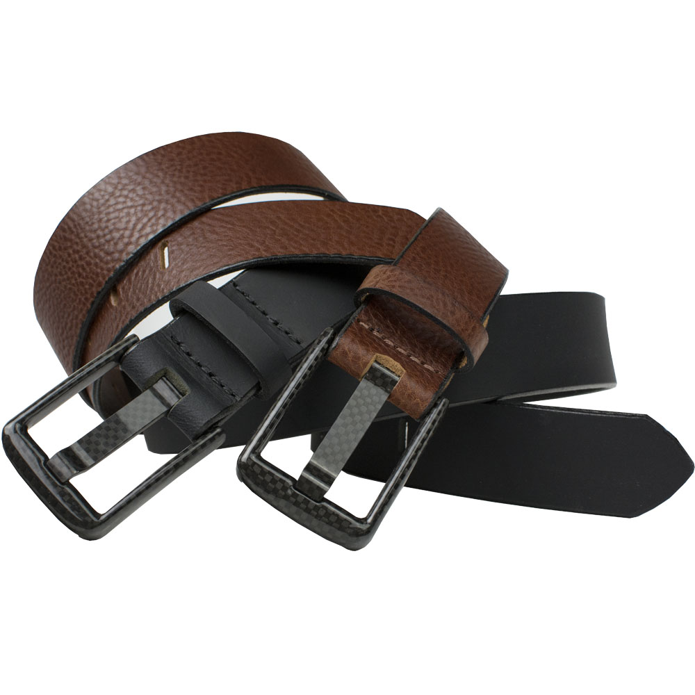Zero Metal Belt Duo - carbon fiber belt set in black and brown